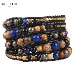 KELITCH <b>Jewelry</b> 1Pcs 8MM Colorful Synthetic Stone Women Bracelets <b>Handmade</b> Leather 5 Wrap Bracelet Wholesale Top Package Free