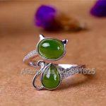 925 silver Natural Green HeTian YU Inlay Ring adjustable <b>Handmade</b> Beauty Cat Design Lucky Ring + certificate Fashion <b>Jewelry</b>