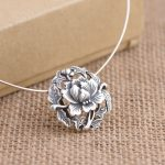 FNJ 925 Silver Flower Pendant Vintage 100% Pure S990 Solid Thai Silver Pendants for Women Men <b>Jewelry</b> <b>Making</b>