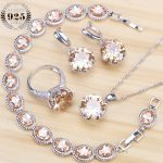 Champagne Cubic Zirconia Bridal Jewelry Sets Earrings For Women <b>Silver</b> 925 Jewelry With Necklaces & Pendants Rings <b>Bracelet</b> Set