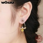 WOSTU Authentic 925 Sterling <b>Silver</b> Hard-working Bee Yellow CZ Drop Earrings For Women Luxury S925 <b>Jewelry</b> Fashion Gift FIE370