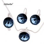 2017 Austrian Crystal Round Pendant Necklaces Earrings Ring <b>Jewelry</b> Sets For Women Girls Women's Day(js0092-1)