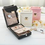 Portable Travel <b>Jewelry</b> Box Casket <b>Fashion</b> Women Makeup Handbag Cosmetic Organizer Leather Earrings <b>Jewelry</b> Case Birthday Gift