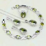 Bohemia Crown Olive Green Zircon 925 Sterling Silver <b>Jewelry</b> Sets For Women Wedding Earring/Pendant/<b>Necklace</b>/Bracelet/Ring