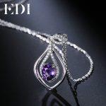 EDI Oval 2ct Natural Purple Gemstone Amethyst Pendant 925 Sterling <b>Silver</b> Chain <b>Necklace</b> Birthstone Fine Jewelry For Women