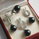 Prett Lovely Women's Wedding Hot! nice new <b>jewelry</b> silver plated 12mm black shell pendant, earring, , ring set