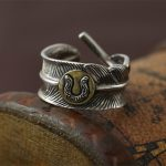 <b>Handmade</b> Indian Style Thai Silver 925 Feather Cuff Ring Men Women Wide Band 925 Sterling Silver <b>Jewelry</b> Cool Punk Bijoux Gifts