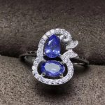 Natural blue tanzanite Ring Natural gemstone ring 925 <b>sterling</b> <b>silver</b> trendy Lucky greedy gourd women's girl gift fine <b>Jewelry</b>
