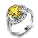 Party <b>Jewelry</b> Natural Ring Sparkling 925 Sterling Silver Rings For Women (come with box) (JewelOra RI101411)
