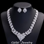CWWZircons High Quality African Cubic Zirconia Wedding <b>Jewelry</b> Sets Long Crystal Bridal <b>Necklace</b> And Earring Set For Brides T117