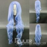Free shipping Quality <b>Fashion</b> Picture full lace High wigs>>Ice Blue Long UNLIGHT Wavyl Anime Cosplay Party Wig