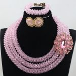 Chunky Nigerian Beaded <b>Jewelry</b> Set Crystal Bead Sets Baby Pink Fashion Jewellery Sets <b>Handmade</b> Bridal Beads Free ShippingABH398