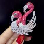 rose red color 925 <b>sterling</b> <b>silver</b> with cubic zircon animal brooch double swan or flamingo brooch pins fashion women <b>jewelry</b>