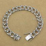14 Lengths 925 Sterling <b>Silver</b> Handmade Skulls Mens Biker Punk <b>Bracelet</b> 9N020