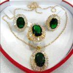 Prett Lovely Women's Wedding fine 10*14mm green zircon earring pendant ring #7,8,9 -silver-<b>jewelry</b>
