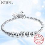 Hot 925 Sterling <b>Silver</b> Full Of Beads <b>Bracelets</b> For Women Shining Smooth <b>Silver</b> Charm Strand <b>Bracelets</b> Brand Fashion Jewelry