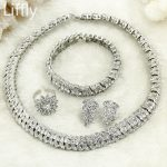 Free Shipping! 2018 High Quality Italian Women Fashion Bride Wedding <b>Silver</b> Jewelry Necklace Ring Earrings Crystal Jewelry Sets