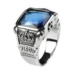 Mens Blue Crystal Ring Square Natural Stone Real Genuine 925 Sterling Silver With Vintage King Crown Carved Fine <b>Jewelry</b>