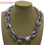 17 inches 20-40mm Natural Lavender Thick Hook Shaped Baroque Biwa Pearl Necklace