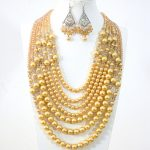 fashion romantic yellow 7 rows necklace earrings round shell simulated-pearl crystal beads <b>making</b> <b>jewelry</b> set B1314