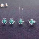 Cute fashion gemstone jewelry set 16pcs 3mm*4mm natural emerald <b>silver</b> jewelry <b>silver</b> ring <b>earrings</b> pendant gemstone jewelry