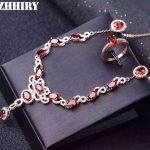 ZHHIRY Natural Garnet Gemstone Jewelry Set Genuine 925 Sterling <b>Silver</b> Necklace Pendant Ring <b>Earring</b> lady Sets
