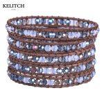 KELITCH <b>Jewelry</b> Multilayers Crystal Beads 5 Wrap Bracelets Genuine Leather Chain <b>Handmade</b> DIY Pulsera For Best Friend Gifts