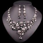 New Punk Rhinestones Skeleton Statement <b>Necklace</b> & Earrings Sets Vintage Skull <b>Jewelry</b> Sets Retro Stars Jewellery Gift for Women