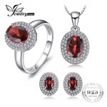 JewelryPalace Classic 4.5ct Genuine Red Garnet Halo Ring Stud Earrings Pendant Necklace <b>Jewelry</b> Sets 925 <b>Sterling</b> <b>Silver</b> Chain