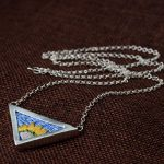 FNJ 925 Silver Triangle Pendant Necklace for Women Blue Cixiu embroidery Link Chain S990 Solid Silver <b>Jewelry</b> <b>Making</b> Necklaces