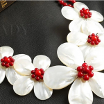 Wedding Woman <b>Jewelry</b> Hot Red Coral Pearl Choker Necklace Double Chain Exaggerate <b>Handmade</b> Pretty Flower Free Shipping