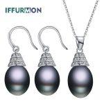IFFURMON Fine Jewelry Sets 925 Sterling <b>Silver</b> Freshwater Pearl Jewelry Set White Dubai Jewelry Sets For Women Wedding Jewelry