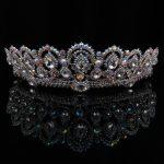 TUANMING Silver Colorful Water Drop Crystal Crown Hollow Rhinestone King Tiara geometric bride headdress metal wedding <b>jewelry</b>
