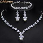 CWWZircons 3 Piece Sparkling CZ Dangle Drop Pearl Bridal Wedding Party <b>Necklace</b> Earrings Bracelet <b>Jewelry</b> Sets For Women T252