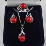 Prett Lovely Women's Wedding red shell pearl crystal pendant necklace earring ring <b>jewelry</b> set 5.23 5.23