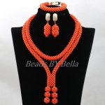 2017 New Design <b>Handmade</b> Coral Beads Statement Necklace Set Nigerian Wedding African Beads Lace <b>Jewelry</b> Set Free Shipping ABK849