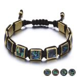 Colorful Square Gem Stone Braiding Men Bracelets <b>Fashion</b> <b>Jewelry</b> Black Rope Chain Adjustable Male Bracelet Erkek Bileklik