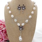 S100203 21″ White Keshi Pearl Cz Pave Flamingo <b>Necklace</b> Earrings Set
