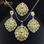 Pera Fashion Ladies 925 Sterling <b>Silver</b> Costume Jewelry Big Square Yellow Cubic Zirconia <b>Necklace</b> / Earrings Set For Women J163