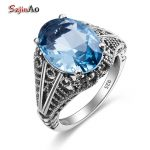 Szjinao Boho Bohemian Gemstone Ring Aquamarine Wedding 925 Sterling <b>Silver</b> Rings for Vintage Bulgaria <b>Jewelry</b> Women Accessories