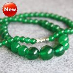 New 6-14mm Natural Green Chalcedony Necklace Women Girls Gifts Beads Round Natural Stone Ornaments Fashion <b>Jewelry</b> <b>Making</b> Design