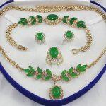 Women's Wedding gem Inlay Green stone Necklace Bracelet Ring Earring set Bridal wide wa real silver-<b>jewelry</b>