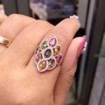 Natural multicolor tourmaline Ring Natural gemstone ring 925 <b>sterling</b> <b>silver</b> trendy Luxury round circle women girl gift <b>Jewelry</b>