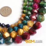 Faceted Mixed Tiger Eyes Beads For Cambay Natural Stone Beads For <b>Jewelry</b> Making Beads Heat Treatment Discolored Strand 15 Inch