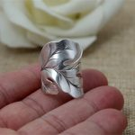 Solid Silver 925 Wide Leaf Cuff Rings Men Women <b>Handmade</b> Thai Silver Ring Vintage Ethnic Style 925 Sterling Silver <b>Jewelry</b> Gifts