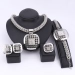 Fashion African Beads Jewelry Set Exquisite Dubai <b>Silver</b> Plated Square Crystal Jewelry Set Nigerian Wedding Bridal Bijoux