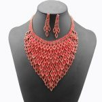 New Fashion Red / <b>Silver</b> <b>Necklace</b> Austrian Crystal Earrings Set For Women Wedding Party Jewelery Pendiente Del Collar #N076