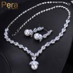 Pera Elegant Women Pearl <b>Jewelry</b> Set For Party Gift Big Leaf Shape Cubic Zirconia Long Dangle <b>Necklace</b> And Earrings J233
