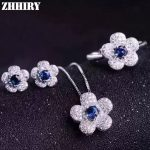 Women Natural Sapphire Gem Stone Jewelry Set Genuine 925 Sterling <b>Silver</b> Necklace Pendant <b>Earrings</b> Ring Flowers