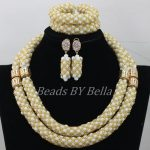 <b>Handmade</b> Fashion Nigerian Wedding Beads Necklace White Gold African Beads <b>Jewelry</b> Set Christmas Gift New Free Shipping ABF837